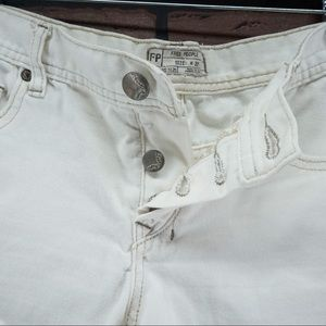 Free People Shorts - FREE PEOPLE White Button Fly Fray Hem Cutoffs 27